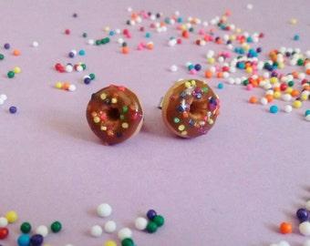 Chocolate Donut Earrings w/ Rainbow Sprinkles - Handmade Polymer Clay Mini Food Dessert Candy Jewelry