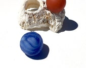 Vintage seaglass marbles with barnacle holder display, Genuine Seaglass, Sea Glass, Beach Glass, Red, Blue, Milk Glass, OOAK
