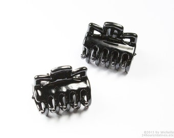 Black Hair Clips - Black Barrettes - Claw Clips - Black Plastic & Steel - 24mm x 27mm - Hairclip Accessories Components - Pack of 2 Pcs