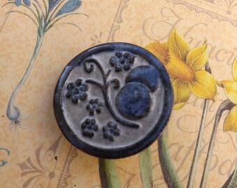 Blue  Brooch, ceramic, vintage, flower brooch