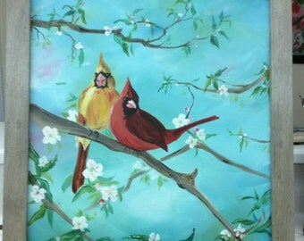 Cardinal Mates Among the Cherry Blossoms - Acrylic Painting on Canvas