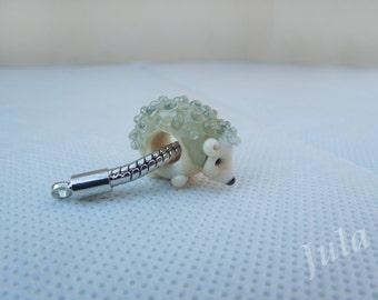 Hedgehog, Pandora bead, European bead, Lampwork bead, Hedgehog charm
