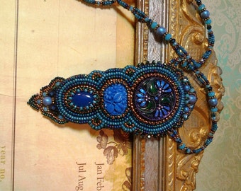 Bead embroidery Shades of Blue NecklaceArt Deco Art Nouveau-vintage floral pressed glass and hand painted Czech glass button centerpiece