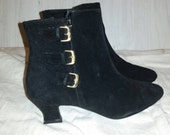 RESERVED- Black Suede Ankle Boots Gold Buckles 6M by Previews
