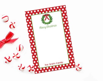 Personalized Christmas Notepad / Christmas Wreath Personalized Stationery Notepad / Red Polka Dot Stationary Notepad