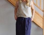 LINEN WOMEN SKIRT Simple linen skirt Navy linen skirt Woman skirt Ready to Wear Size M