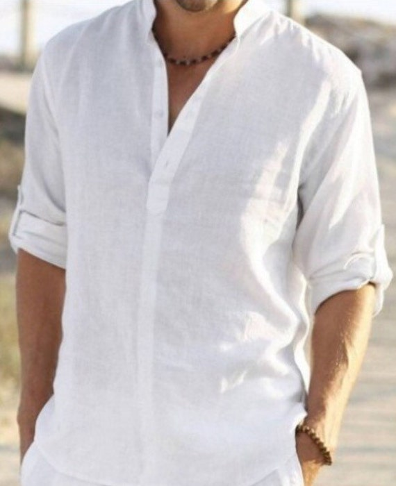 Man white linen shirt beach wedding party special occasion birthday summer