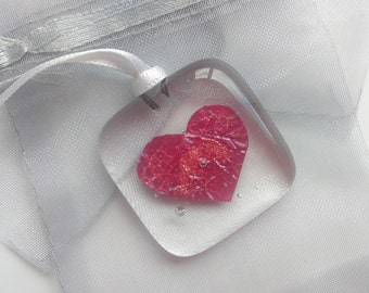 Fused Glass Love Token Wedding Favour Good Luck Charm Love Heart