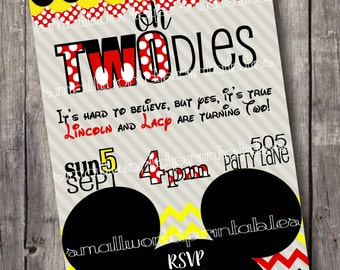 Oh TWOdles invitations Toodles Twins Minnie Mickey Mouse Boy Girl Birthday Party Printable or Printed Envelopes 5x7 - Red Yellow