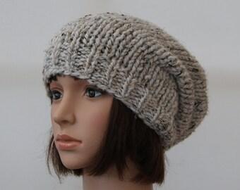 Chunky knit beanie in Oatmeal/Oatmeal slouchy hat/winterhat