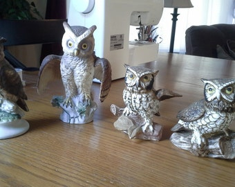 Beautiful Vintage Owl Figurines - Set of 4