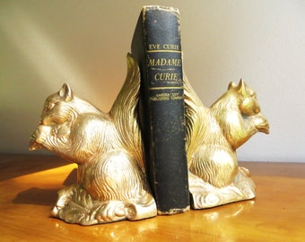 Vintage Brass Squirrel Bookends, Brass Bookends, Squirrel Figurines, Woodland Animal, Heavy Bookends