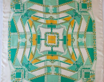 Vintage HERMES  silk scarf - SCALA - very rare scarf - White / Green / Yellow - Luxury scarf - Vintage designer - gift for her