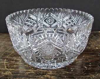 Vintage Crystal Salad Bowl