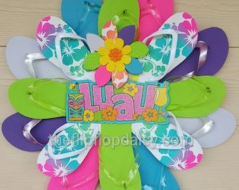 Bright Hybiscus Flower Print Flip Flop Wreath Door Decor Beachy Wall Hanging Adorable