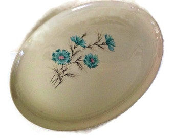 Mid Century Platter Taylor Smith Taylor TST Vintage China Ever Yours Boutonniere Blue Pink Tan White Mid Century Retro