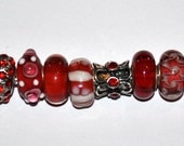 Lot of High Quality Handcrafted Red Murano European Beads