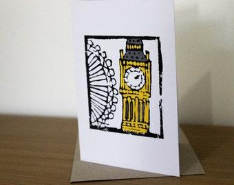 Big Ben and London Eye blank greeting card