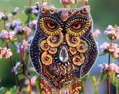 Special item For Teri. 1/2 payment  Fabulous amethyst owl. Beaded necklace with owl. Necklace Bead Embroidery Art