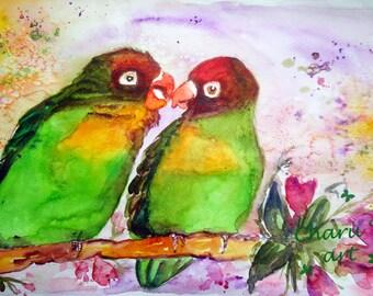 Original watercolor lovebirds ,love is in the air ,valentine,love birds