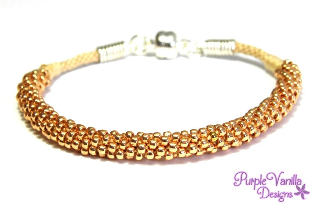 Copper Braided Rope : Rosegold beaded rope bracelet kumihimo with copper