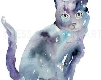 HUGE SALE Black Cat Watercolor Painting Print, Black Cat Painting, Cat Watercolor, Cat Illustration, Print of Cat, Pet Painting, Animal Wate