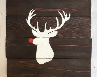 Reclaimed Barn pallet wood deer buck head sign Christmas holiday wall art decor Rudolph red nose reindeer baby boy girl nursery room