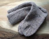 Cocoa Brown Wool Blend Handknit Socks: Size M