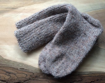 Cocoa Brown Wool Blend Handknit Socks: Size M