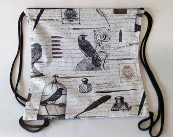 The Raven Edgar Allan Poe  drawstring backpack 35x35cm 14x14 inches