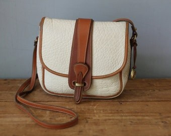 DOONEY & BOURKE Cream AWL Small Equestrian Saddle Bag / Dooney and Bourke Binocular Crossbody Messenger Handbag