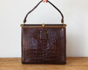 LUCILLE de PARIS Genuine Alligator Framed Handbag/ Vintage Brown Lucille 1950s Crocodile Leather Structured Kelly Bag