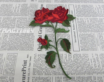 Red Rose Iron on Patch Embroidery Flower Appliques