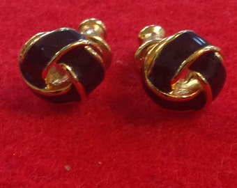 Monet Navy Blue & Gold Tone Knot Post Earrings Vintage 1980's