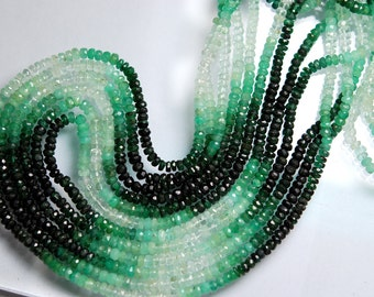 16 Inch Strand, Finest Quality,NATURAL Shaded EMERALD Micro Faceted Rondelles Beads 3-3.5mm aprx