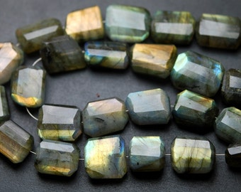 14 Inches,Yellow Labradorite Faceted Step Cut Nuggets 15-12mm Large Size