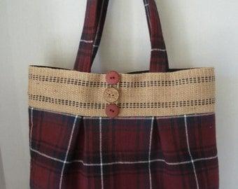Red Plaid Jute Bag