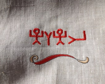 Paleo and Pictograph Hebrew Name of the Father 100% Linen Tallit Bag Prayer Shawl Holder