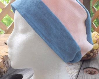 Light Blue & Pink 100% Linen Snood Cap Tichel Head Cover