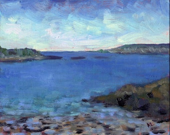 Original oil painting landscape coastal New England  Maine seascape blue ocean water beach landscape 8 x 10