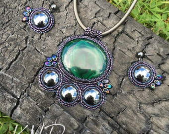 """Mechanical dragon"""" Malachite and Hematite Bead Embroidery Necklace & Earring Set"""