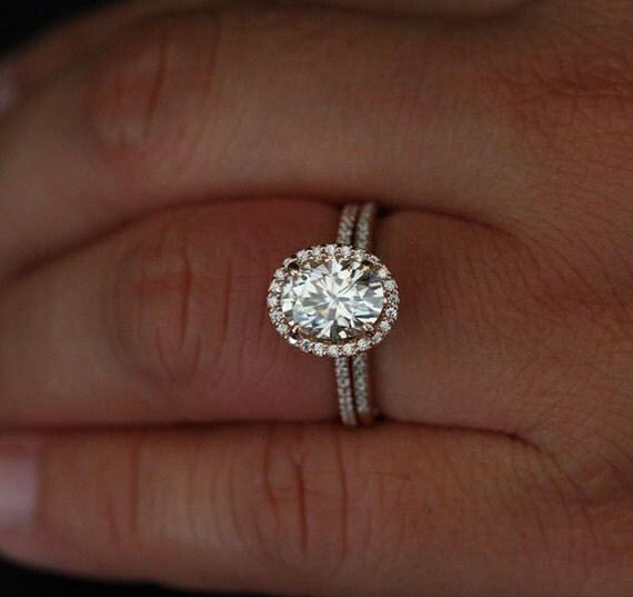 Moissanite Engagement Ring Forever Classic Moissanite Oval