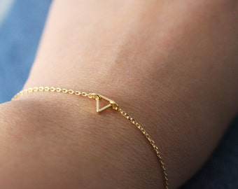 Super Tiny Triangle bracelet - gold tiny triangle bracelet - open triangle bracelet