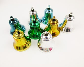 "Eight Plastic Bell Ornaments - Vintage 1970s - Bell Ornaments - Green, Blue, Silver, Gold - Hollow Bell Ornaments at 2"" Tall"