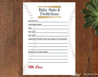 Baseball Baby Shower Printable Game - Stats and Predictions Baseball Printable - Baby Birth Stats Sports Theme Printable - Instant Download