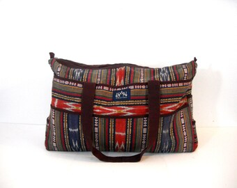 Vintage Cloth Ikat Duffle Bag
