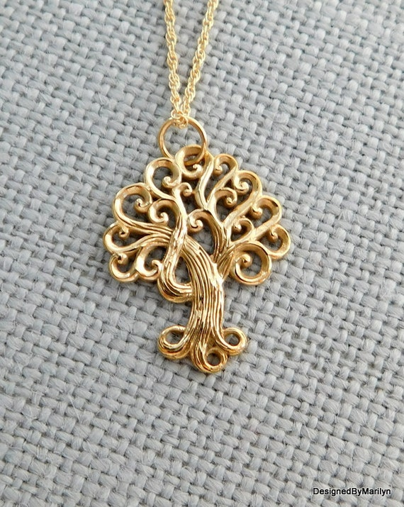 Natural bronze tree of life pendant, curly tree necklace, golden jewelry, family necklace, Mothers day gift