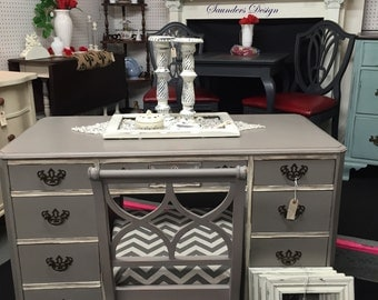 Chic Distressed Cottage Vintage Desk/Vanity with accent chair