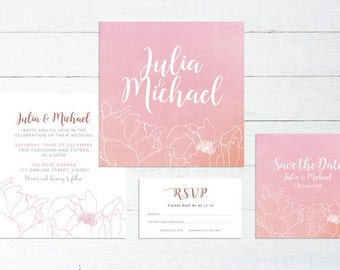 Wedding Invite – Peonies Printable Wedding Invitation Suite