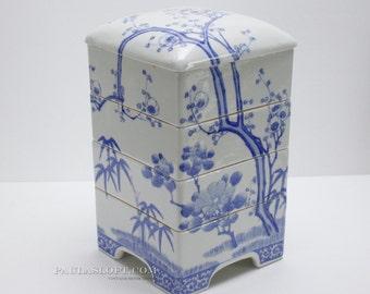 Jubako Box Bento Vintage Porcelain Stacking Japan Tiered Ceramic Large